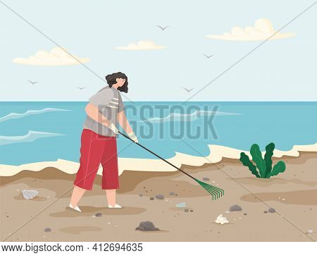 Woman Is Removing Plastic And Paper Waste With Rake On Dirty Beach And Cleaning Territory