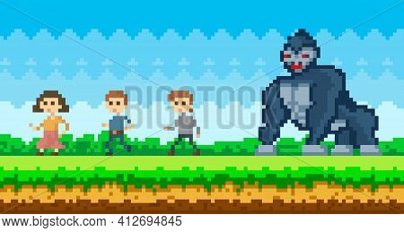 Pixel People Run Away From Gorilla. Pixel-game Scene With Giant Monkey Catching Up With Group Of Men
