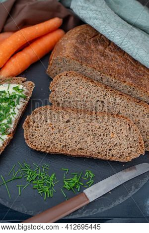 Home Made Carrot Bread. Home Made Of Sourdough And Wheat