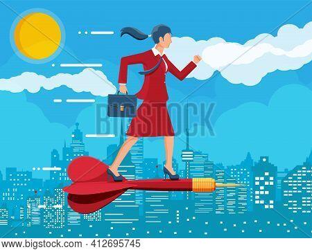 Businesswoman On Dart Aim Arrow To Target.