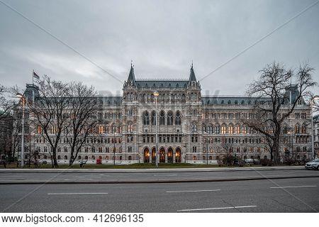 Vienna, Austria - Feb 7, 2020: Facade Of Cityhall Entrance In Winter Morning