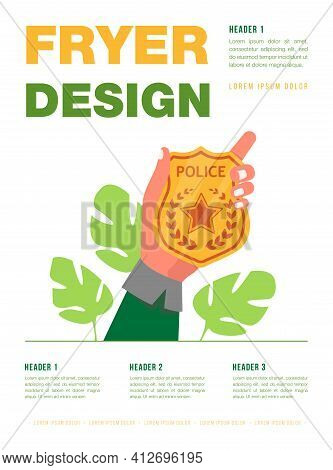 Male Hand Holding Golden Police Badge. Protection, Guardian, Star Flat Vector Illustration. Justice