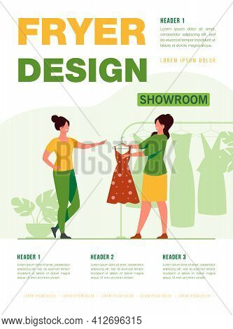 Fashion Store Seller Helping Customer In Showroom. Consultant Giving Dress To Woman For Trying. Flat