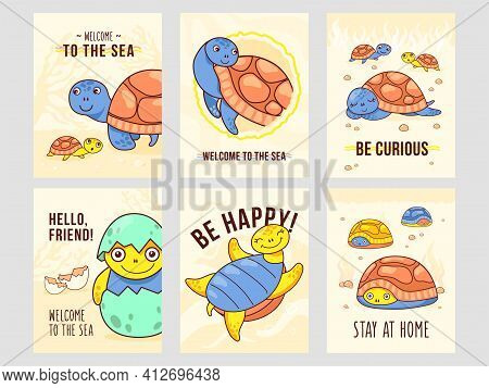 Modern Leaflet Designs With Happy Turtles. Funny Marine Characters In Different Poses On Cards With