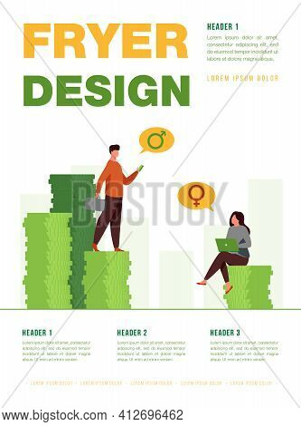 Earnings Gender Discrimination. Man And Woman Getting Different Salary. Flat Vector Illustration. In