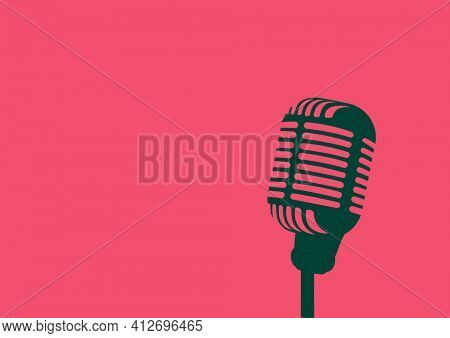 Illustration of vintage microphone with copy space on pink background. music and writing background concept digitally generated image.
