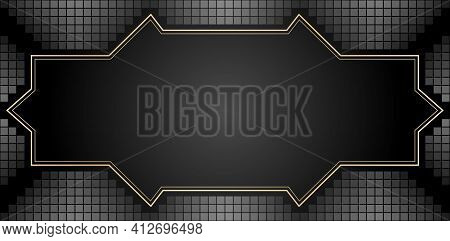 Metals Background With Frame Golden Lines, Abstract Textures Dark Colors Black, With Tiles Model Or