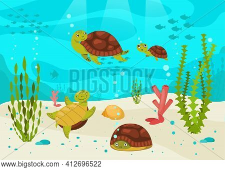 Turtles Swimming Underwater Among Seaweeds, Corals And Fishes. Cute Animals In Water In Nature. Flat