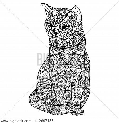 Zentangle Stylized Cat For Adult Coloring Page