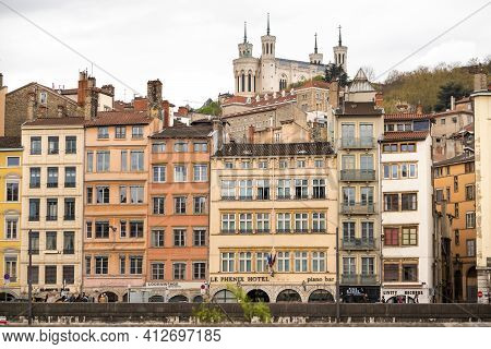 Lyon, France-april 7, 2919: Embankment Of The River Saone On The Bridge In The City Of Lyon