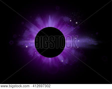 Purple Burst With Sparkle Rays And Lens Flare Effect. Glowing Stars. Purple Glitter Bokeh Lights And