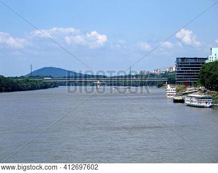 Bratislava, Slovakia - 10 Jun 2011: The View Of Danube River In Bratislava City, Slovakia