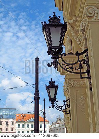 Bratislava, Slovakia - 10 Jun 2011: The Vintage Lamp In Bratislava City, Slovakia