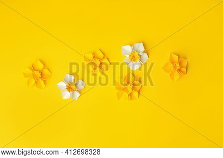 Happy Easter Paper Craft For Kids. Paper Diy Seasonal Flowers Narcissus On Yellow Background. Spring
