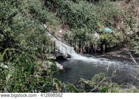 The Bilge Water Is Discharged Directly Into The Canal. Southeast Asia