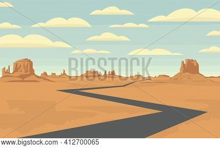 Decorative Landscape With An Empty Road In The Desert With Mountains And Clouds In Blue Sky. Vector
