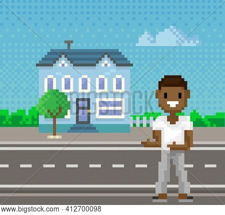 Pixel Woman For Old Pixel-game Layout Stands Against Background Of Cityscape With Road And Building