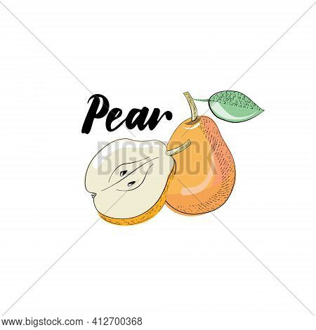 Vector Image Of A Pear - Whole And Cut Half Of A Pear. Sticker With The Title Pear In Simple Hand-dr