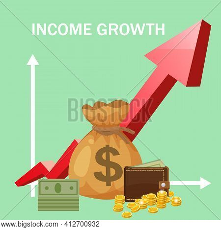 Increase Income Financial Revenue, Income Growth Money Rate Rising Up. Arrow Up, Money Purse Coins G