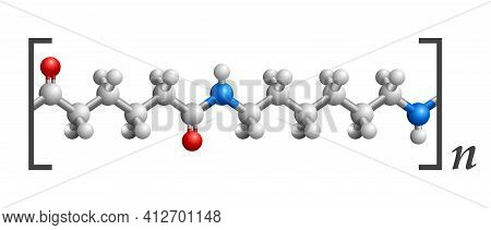 Nylon 3d Molecular Structure, Repeating Of Amide Links. Vector Illustration