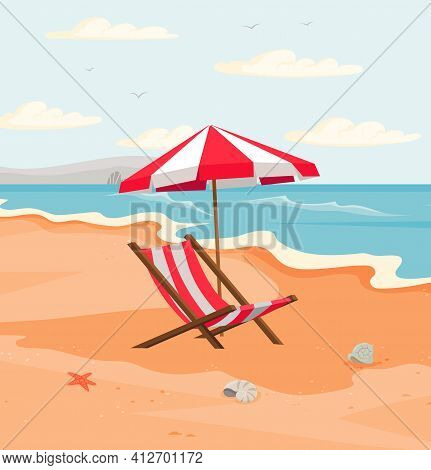 Seascape With Resting Place For Tourists. Empty Sun Loungers And Umbrella, On Hot Sand Near Ocean