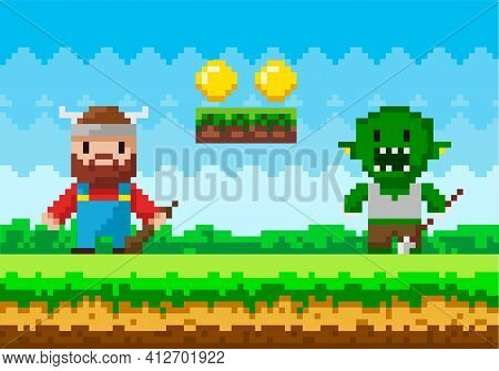 Brave Viking With Club Fighting Against Monster. Zombie Attacks Human, Apocalypse Pixel Scene