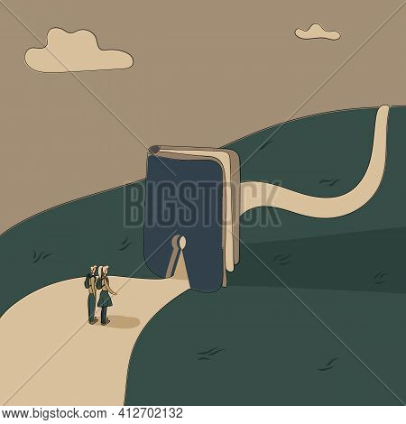 Concept:book Is Source Of Knowledge.tiny Boy And Girl Stand On Wide Road In Front Keyhole Entrance I