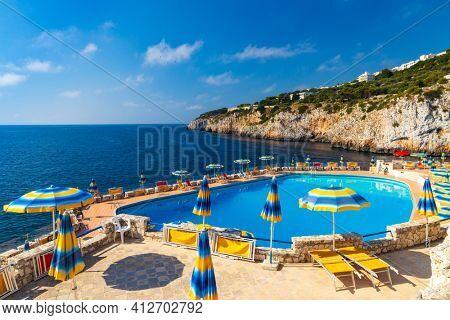 swimming pool near sea in Zinzulusa, Castro, Province Lecce, Italy