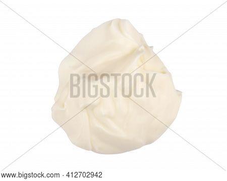 Mayonnaise Isolated. Mayo Swirl On White Background. Mayonnaise Cream Set. Mayonnaise Swirl With Cli