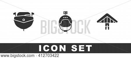 Set Speedboat, Helmet And Action Camera And Hang Glider Icon. Vector