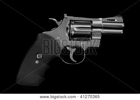 Isolated silver handgun, magnum, on black background poster