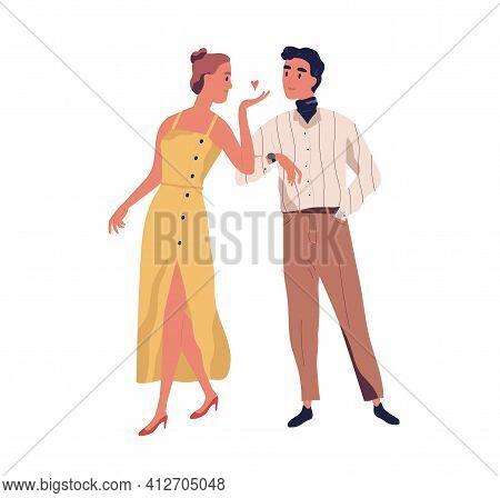 Woman Saying Bye And Sending Air Kiss To Her Beloved Man. Love Couple Of Heterosexual Partners Leavi