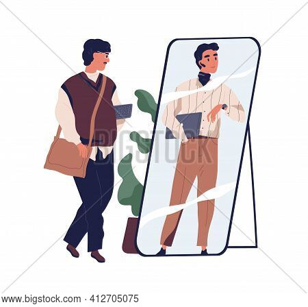 Man In Outdated Clothes Looking At Fake Mirror Reflection And Dreaming To Be Successful Modern Busin