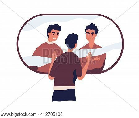 Psychological Concept Of Split Personality, Bipolar Disorder, And Divided Self. Person With Conflict