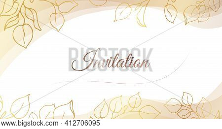 Gold Invitation. Set Of Gilded Leaves And Branches On A White Background With Place For Text.