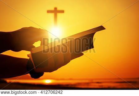 Christian Praise On Hill Thanksgiving Day Background. Christian Man Or Woman Hands Holding And Readi