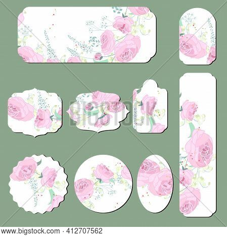 Set With Different Floral Cards With Romantic Pink Roses. Illustration Can Be Used For Festive And R