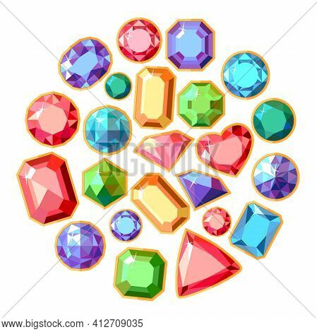 Round Template With Different Jewels. Circle With Gems, Rubies, Emeralds, Diamonds And Brilliants. S