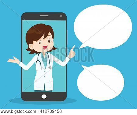Modern Medicine And Healthcare System Support.smartphone With Doctor On Call Holding Meds.online Med