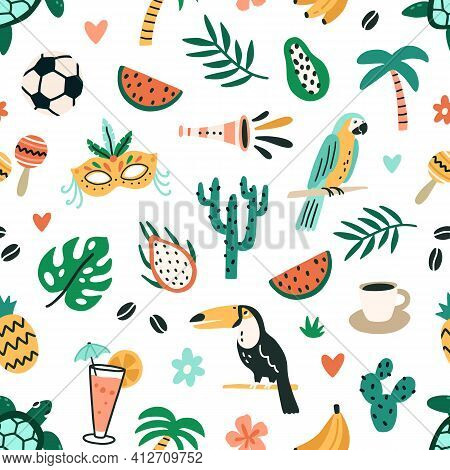 Seamless Brazilian Pattern With Cultural And Natural Symbols Of Brazil On White Background. Endless