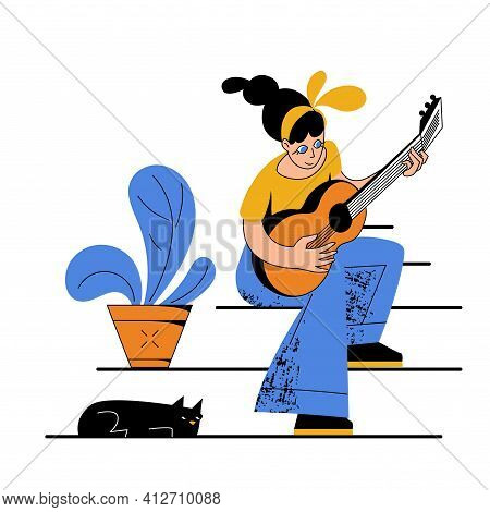 Illustration Of A Girl Playing An Acoustic Guitar With A Cat Listening. Modern Cartoon Flat Vector S