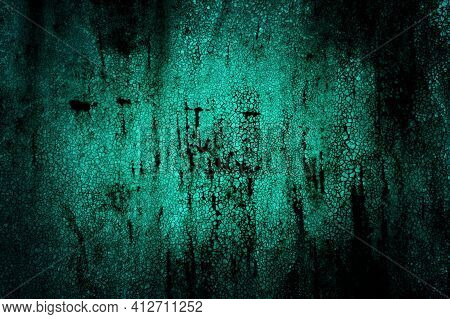 Abstract Horror Old Empty Ragged Painted Metal Cracked Grunge Scary Dark Mystical Background With Ve