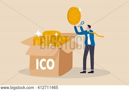 Ico, Initial Coin Offering Process To Create New Crypto Currency Token To Trade In Market Concept, B