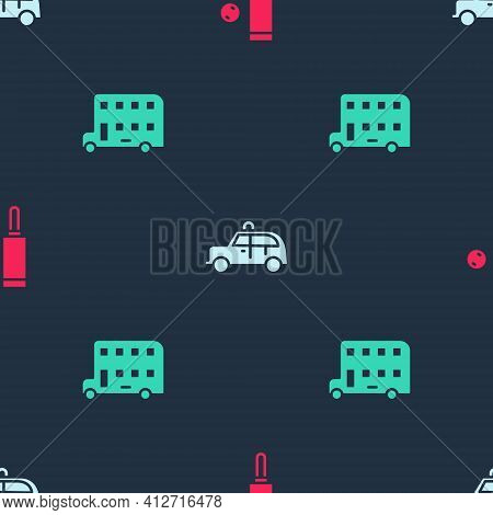 Set Wood Cricket Bat And Ball, Taxi Car And Double Decker Bus On Seamless Pattern. Vector