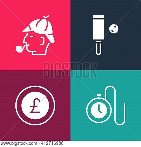 Set Pop Art Watch With A Chain, Coin Money Pound, Wood Cricket Bat And Ball And Sherlock Holmes Icon