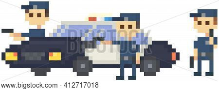 Pixel Policemen With Pistol Near Police Car. Officers Preparing To Attack, Group Of Cops Fighting