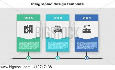 Set Broken Road, Car And Boat With Oars. Business Infographic Template. Vector