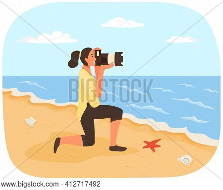 Girl With Camera Looks Through Lens At Coastline. Photographer Conducts Photo Session Of Sea