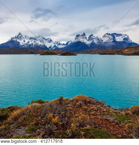 Torres Del Paine National Park Aerial Panoramic View. Torres Del Paine Is A National Park Encompassi