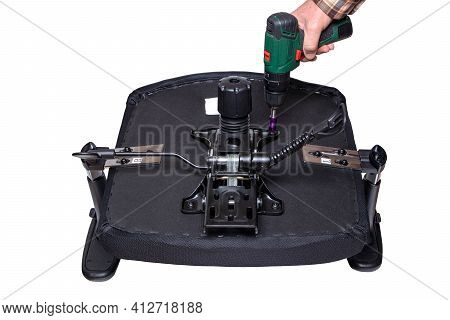 Mounting Of The Steel Base Plate (rocking Mechanism And Height Adjustment) Under The Seat Cushion Of